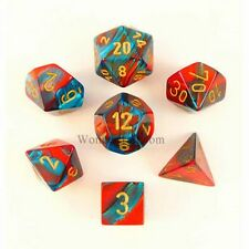 7 Dice Set Chessex GEMINI RED TEAL gold 26462 Dadi Rosso Verde Acqua oro d&d