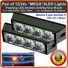 2x 4 LED 12V 24V ámbar Estroboscópicos Luces Intermitentes Grúa Barra liviano