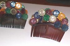 Antique Hair Comb Set 18 Pc, Orig Satin Pouch Hair Accessories