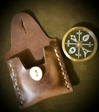 "Bushcraft 2"" Brass Compass w/ Leather Case gear survival kit"
