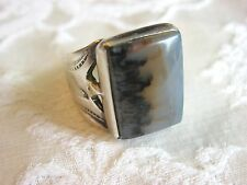 ANTIQUE STERLING SILVER NATIVE AMERICAN BLUE MOSS PICTURE AGATE RING BIRD STAMPS