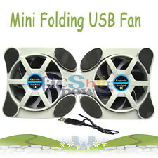 Mini Folding USB 2.0 Dual Cooler Blower Fan for Notebook Dell HP LED Cooling Pad