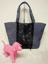 VICTORIA'S SECRET-Sexy Flirty Corset Blue Denim & Black Lace Tote Bag & Pink Dog