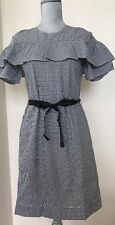 NEW J CREW Size 4 #F8785 Black White Belted Edie Dress in Micro microgingham