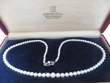 "Vintage Mikimoto 18"" Sterling Graduated 7.5mm-3.5mm Pearl Strand Necklace"