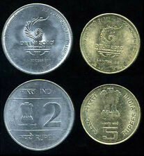 "INDIA SET 2 COINS 2 5 RUPEES "" DELHI 2010 XIX COMMONWEALTH GAMES"