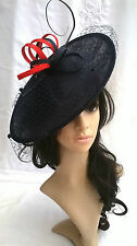 Navy & Poppy Red net &Feather Fascinator .headband.Shaped disc Wedding..races
