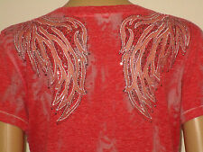 WOMENS  MISS ME BUCKLE   EMBELLISHED  T-SHIRT TEE TOP SIZE L  EUC