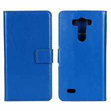 Blue Genuine Leather Wallet Card Cash Case Cover Stand for LG G3