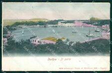 Napoli Ischia Porto Alterocca 1810 FORI PIEGHE STRAPPINO cartolina XB2030