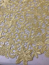 "YELLOW FLOWER GUIPURE FRENCH VENICE BRIDAL LACE FABRIC 45"" 1 YARD"
