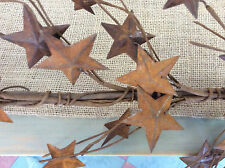 "Primitive country farmhouse  44"" long metal rusty stars garland rustic cabin"