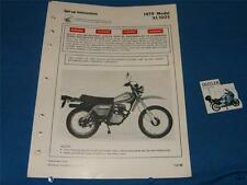 Honda set up instructions 1979 XL100S  Date of issue 12/78               ADS236