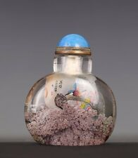 Amazing Old Chinese Inside Hand Painting Glass Snuff Bottle Signed US103
