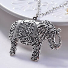 New Women's Silver Elephant Pattern Necklace Pendant Jewellery Gift Girl Wedding