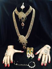 8 Pcs Grand Bollywood Indian Wedding  Bridal Set White Pink Aqua  Necklace A8