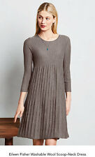 Eileen Fisher BROWN Wool  Scoop Neck Pleated  Ribbed Tunic Dress PS $278