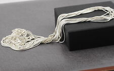 "Wholesale quality 12 pcs 1mm silver plated snake necklace chains 16-18 "" long"