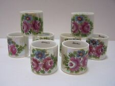 Vintage Hand Painted Porcelain Fine China Napkin Rings Flowers K Devine 8