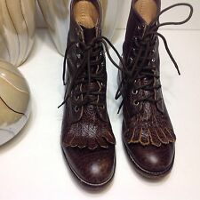 ViNTAGE BROWN JUSTIN MADE IN USA DISTRESSED LACE UP KILTIE BOOTS SIZE 5 B