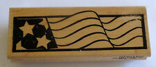 Stars Stripes Rubber Stamp USA Flag Retired Wood Mounted Y009