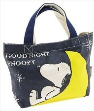 Peanuts Snoopy Navy Mini Bag Handbags tote shopping Lunch Purse Cotton Kids New