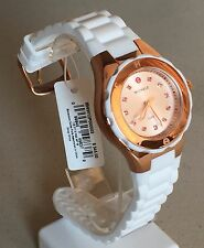 Michele Jelly Bean Petite Rose Gold Pink Topaz White Silicone Watch MWW12P000003