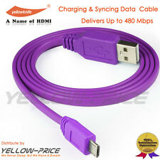 Hi-Speed Flat Tange Free USB 2.0 A Male to Micro 5pin Male 26/24AWG Cable,Purple