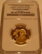 Jamaica 1976FM Gold $100 NGC PF-69UC Admiral Horatio Nelson