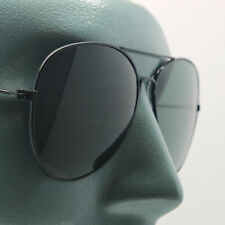 True Glass Green Lens Classic Aviator Sunglasses Sun Shades Black Metal Frame