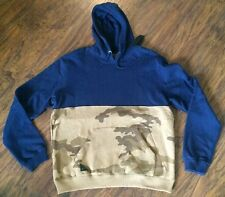 10 DEEP 2 TONE BLOCK HOODIE SWEATSHIRT IN BLUE AND ARMY CAMO SIZE 2XL!!!
