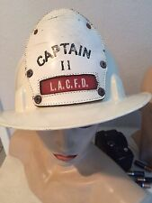 USED CAPTAIN  FIRE DEPARTMENT LACFD  FIRE HELMET LEATHER BADGE,PLACTIC HAT