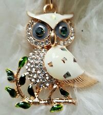 LG Rhinestone Bling Key Chain Fob Phone Purse Charm White Gold Owl Hand Painted