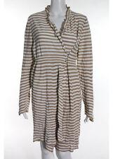 NWT SONIA RYKIEL Beige White Striped Ruffled Neck Sweater Dress Sz IT 44 $955