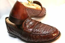 COLE HAAN BRAGANO ITALY BROWN WOVEN LEATHER 8.5 D EXQUISITE ITALIAN LOAFERS