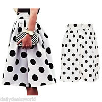 Women Retro Polka Dot High Waist Knee Length Ball Gown Swing Midi Bubble Skirt