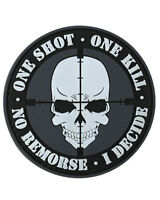 ONE SHOT ONE KILL PVC Rubber Moral Badge Military Tactical Patch Hook Back
