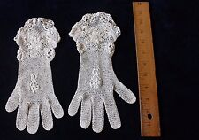 Handmade Vintage Irish Crochet Lace Gloves c1940~Women's Clothing,Bridal