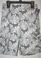 """Cherokee"" Cargo Shorts~Gray/White~Palm Leaf Print~14~NWT"