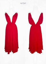 Plein Sud MADE IN ITALY Daring Grecian Midi Red V-Neck Cowl Ballet Dress 4 FR36