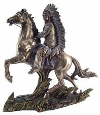 11 Inch Chief Sitting Bull on Horse w/ Gun Statue Native Indio American Figurine