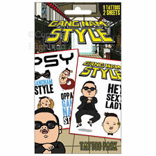 PSY Gangnam Style Temporary Tattoo Pack Official 9 Tattoos TP0106 New