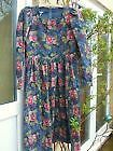 VINTAGE LAURA ASHLEY FINE NEEDLE CORD DRESS SIZE 36 INCH BUST BLUES GREEN PINKS