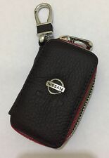 Nissan Leather Key Cover Case Holder Ring Chain Fob !
