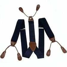 Fashional Men's Suspender Braces Adjustable Leather Button Holes Navy Blue BD707