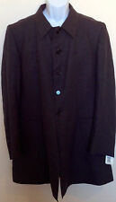 Men's Paul Smith Designer Gray Grey Linen Trench Coat Jacket Long L Large NWT