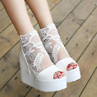Womens Fashion Lace High Heels Open Toe Hollow Out Platform Shoes Summer Sandals