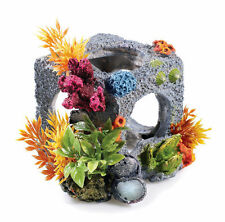 Rock Stone Cube Fish Cave with Coral & Plants BiOrb Aquarium Fish Tank Ornament
