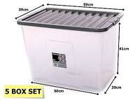 5 X CONTAINERS PLASTIC STORAGE BOXES WITH LIDS LARGE 80LTR MADE IN UK WHAM NEW