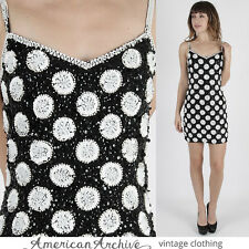 Vintage 80s Sequin Beaded Dress Black Silk Polka Dot Deco Cocktail Party Mini S